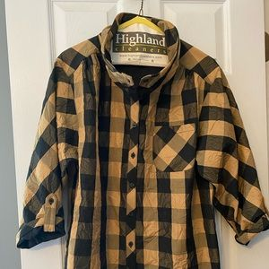 Peter Nygard Gold & Black Plaid Button Front